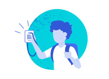 Illustration of student using a Clever Badge