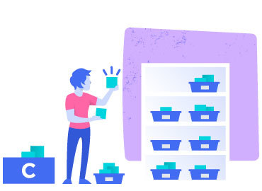 Illustration of person organizing resources