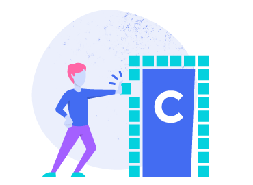 Illustration of person going through a door